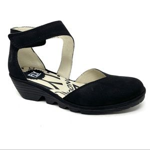 Fly London PATS801FLY black wedge sandals